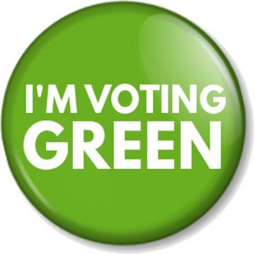 I'M VOTING GREEN Pinback Button Badge Elections Political Party Vote Poll Politics